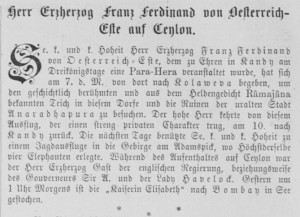 Notice in the Wiener Salonblatt no. 3 about Franz Ferdinand's stay in Ceylon