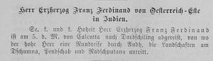 Wiener Salonblatt, 12 February 1893, issue 7, p.3: Franz Ferdinand in India