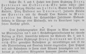 Th Wiener Salonblatt reports which Royals have announced their attentance in the world fair in Chicago besides Franz Ferdinand.