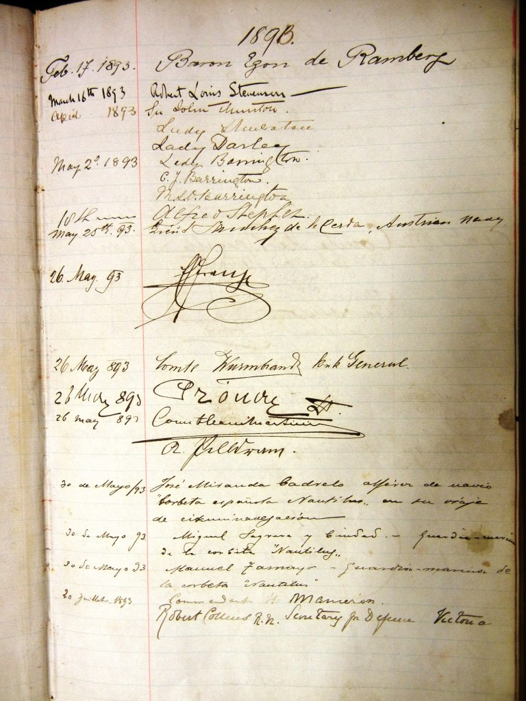 The signatures of Franz Ferdinand and his gentlemen Wurmbrand, Pronay, Clam-Martinic in the visitor's book of the Art Gallery of New South Wales in Sydney, Australia. Courtesy of the museum.