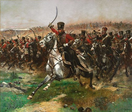 Edouard Detaille (France 05 Oct 1848 – 23 Dec 1912): Vive L'Empereur - Charge of the 4th Hussars at the battle of Friedland, 14 June 1807, 1891.