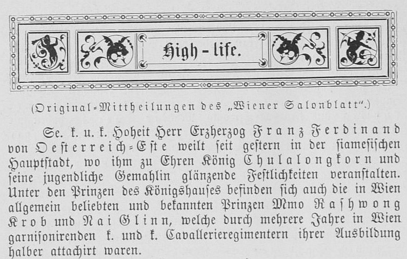 Not content with misinforming its readers about FF's stay in Siam, the Salonblatt adds an imaginative but wrong impression of the meeting.