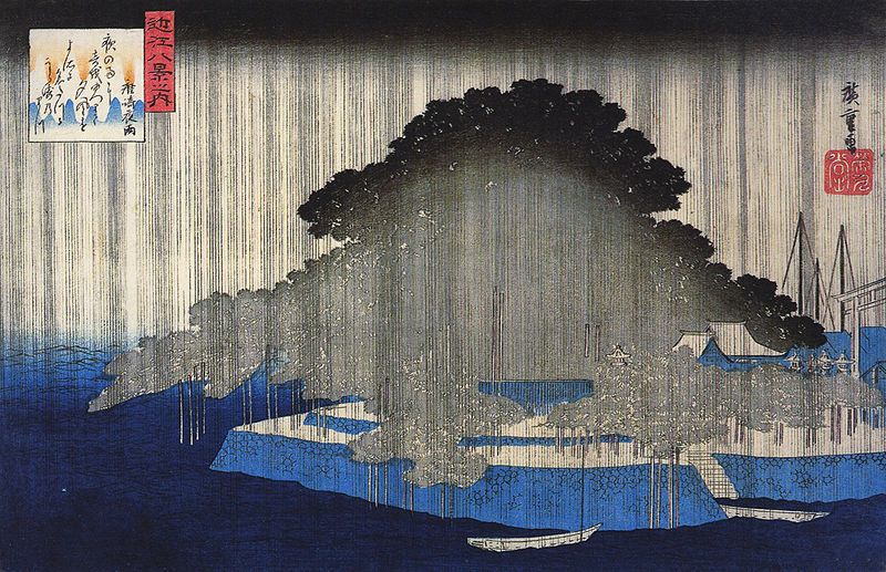 Hiroshige - The evening rain at Karasaki (Source: Wikimedia commons)