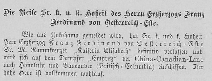 The Wiener Salonblatt No. 35 reports FF's departure from Yokohama towards North America.