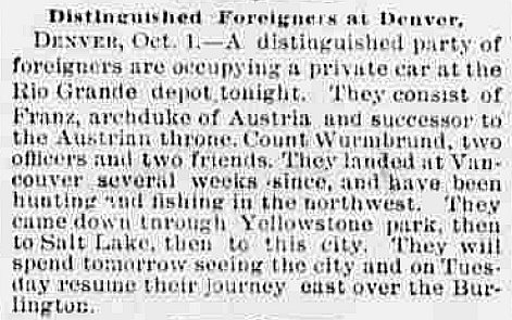 "The Omaha Bee mentions ""distinguished foreigners"" in Denver"