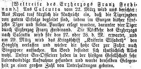 Franz Ferdinands Jagderfolge in Indien, Die Presse 11.4.1893